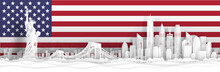 Panorama View Of New York City, United States Of America Skyline With World Famous Landmarks In Paper Cut Style Vector Illustration