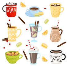 Flat Vector Set Of Mugs With H...