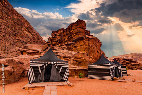 Tourist tents in Wadi Rum dessert. Jordan.