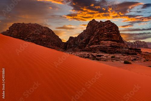 Photo  Wadi Rum desert landscape at sunset, Jordan