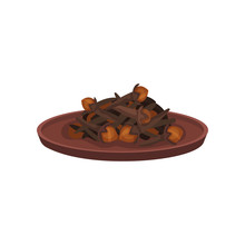 Heap Of Dried Cloves In Ceramic Plate. Cooking Ingredient. Aromatic Spice. Culinary Theme. Flat Vector Icon