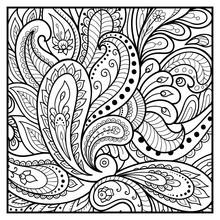Outline Floral Pattern For Col...