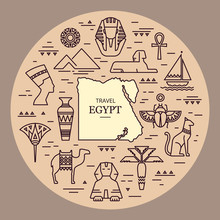 Set Of Vector Flat Design Egypt Travel Icons And Graphics Elements With Landmarks, Traditional Signs And Famous Egyptian Symbols.