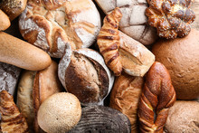 Freshly Baked Bread Products As Background