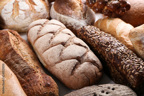 Fotobehang Brood Freshly baked bread products, closeup