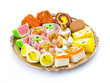 Indian Traditional Mix Sweet Food or Mix Mithai include Peda, Mawa Burfi, Dry Fruits Sweet, Halwa or Coconut Burfi