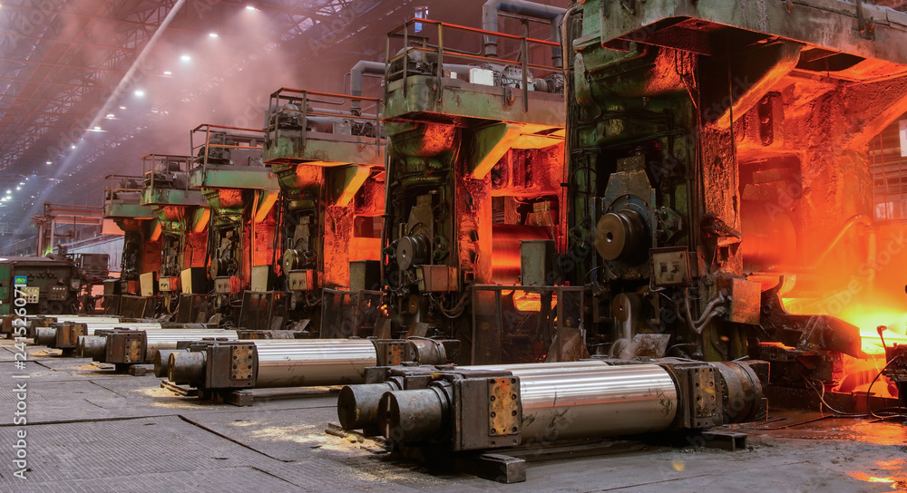 Fototapety, obrazy: The equipment of the rolling mill for metal deformation
