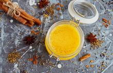 Ghee Oil In A Glass Jar. Spice...