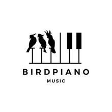 Bird Competition Piano Music Course Event Logo Vector Icon Illustration