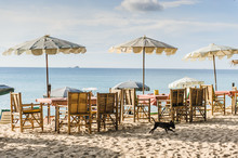 Tables Under Umbrellas In A Cafe On The Beach
