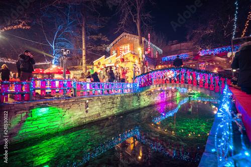 Greek Christmas.Night View Of The Greek Christmas Market Oneiroupoli With