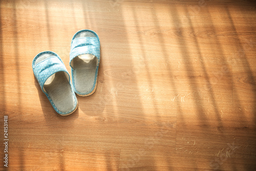 Fotografie, Obraz  Indoor slippers on wood floor