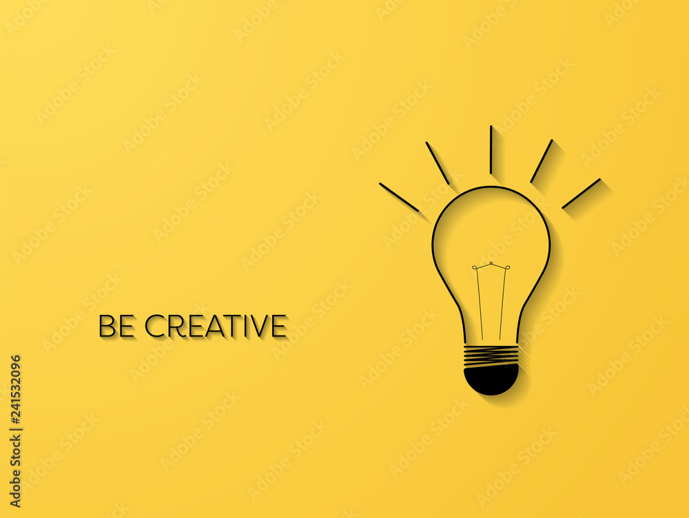Fototapety, obrazy: Creativity symbol with line art lightbulb with 3d shadows vector concept. Business symbol for idea, innovation, imagination.