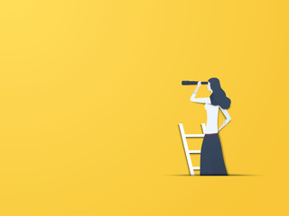 Business vision vector concept with businesswoman with telescope. Modern paper cutout style. Symbol of business visionary, leader, or new career opportunity.