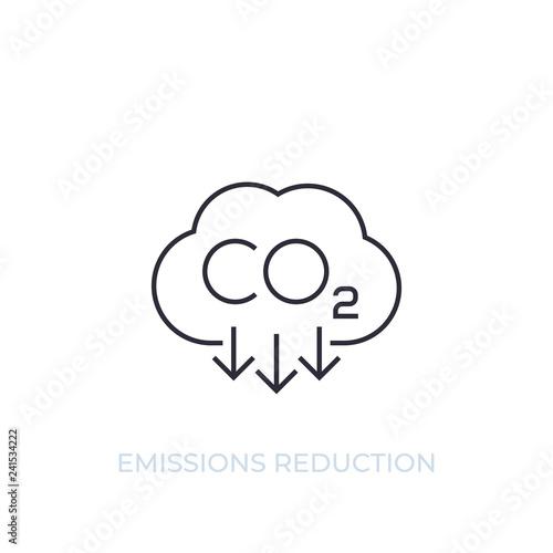 Fotografie, Obraz  co2, carbon emissions reduction, vector line icon