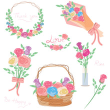 Set Of Floral Branch , Rose Bo...