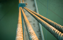 Rope Cable With Steel Bridge Across A River