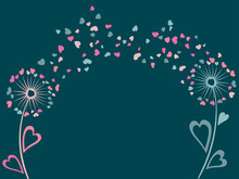 Couple Pink And Blue Of Dandelion Flowers Summer Vector Card. Heart Shaped Feather Fluff, Leaves, Abstract Flying Petals. Meadow Blow Ball Pattern Illustration For Banner, Print. Love Symbols Design.