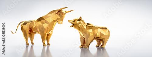 Bulle und Bär Polygon Gold vor Weiß