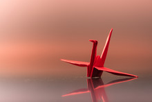 A Red Crane Made Of Paper In Sunset Or Sunrise Atmosphere With Reflection