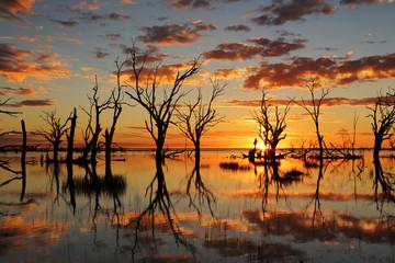 Sunset reflections on Lake Menindee outback Australia