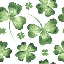 Watercolor Clover Leaves, Shamrock, Trefoil, Quarterfoil Vector Seamless Repeat Pattern. St. Patrick Day Painted Watercolour Spring Background.