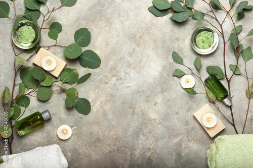 Obraz Beautiful spa composition on grey background - fototapety do salonu