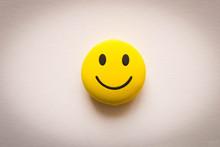 Funny Smiley Face On White Background. Positive Mood.