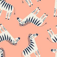 Zebra Seamless Pattern On Orange Background, Summer Kids And Nursery Fabric Textile Print