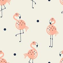Flamingo Bird Seamless Pattern On Neutral Background, Summer Kids And Nursery Fabric Textile Print