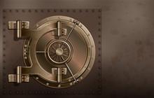 A Huge Metal Round Safe Door. Reliable Saving Of Secrets And Passwords.