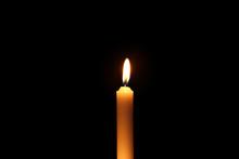 Beautiful Burning Candle On Dark Background