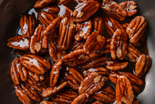 Frying Pan With Candied Pecan Nuts, Closeup