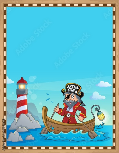 Pirate in boat topic parchment 1