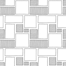 Seamless Vector Pattern. Black And White Geometrical Hand Drawn Background With Rectangles, Squares. Simple Print For Background, Wallpaper, Packaging, Wrapping, Fabric.