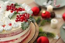 Tasty Christmas Cake On Festive Table