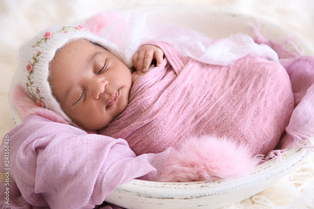 Fototapety, obrazy: Portrait of cute African-American baby