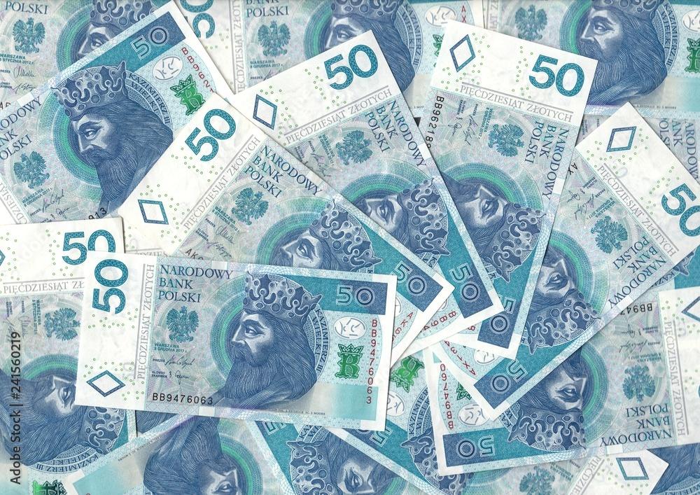 Photo & Art Print Polish zlotys - Polish currency, 50 PLN bills