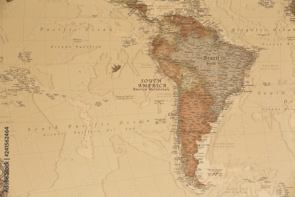 Fototapety, obrazy: Ancient geographic map of south America with names of the countries