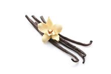 Aromatic Vanilla Sticks On Whi...