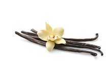 Aromatic Vanilla Sticks On Whi...