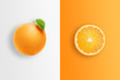 Leinwanddruck Bild - Creative background, orange and orange slices on a white and orange background. Flat lay, copy space, layout. The concept of nutrition, fresh fruit, natural products, juice.
