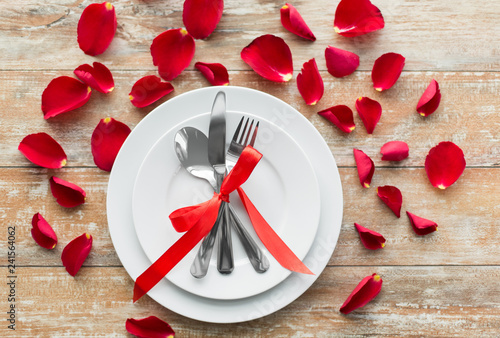 Valentines Day Table Setting And Romantic Dinner Concept Close Up