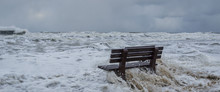 STORM AT SEA - A Bench Flooded...