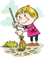 Illustration Of A Boy Sweeping...