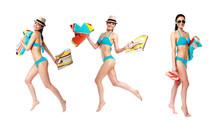 Collage Three Sexy Women In Bikini