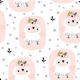 Seamless background with cartoon owl - 241570241