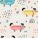 Bezszwowy wzór z ślicznymi doodle psami - 241570673