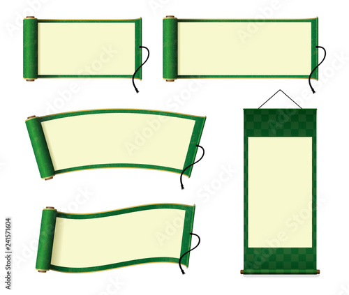 Japanese scroll paper / hanging scroll illustration set (green)
