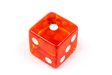 A Red Glass Dice Isolated On A...